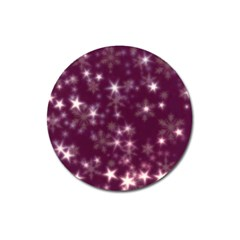 Blurry Stars Plum Magnet 3  (round) by MoreColorsinLife