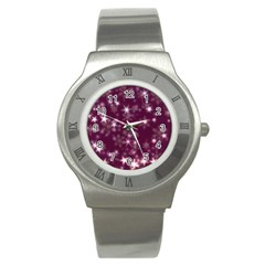 Blurry Stars Plum Stainless Steel Watch by MoreColorsinLife
