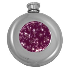 Blurry Stars Plum Round Hip Flask (5 Oz) by MoreColorsinLife