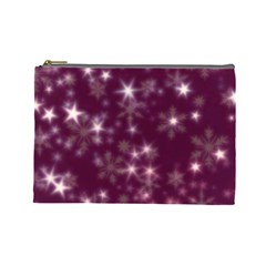 Blurry Stars Plum Cosmetic Bag (large)  by MoreColorsinLife