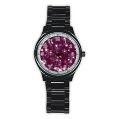Blurry Stars Plum Stainless Steel Round Watch by MoreColorsinLife