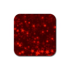 Blurry Stars Red Rubber Square Coaster (4 Pack)  by MoreColorsinLife
