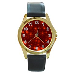 Blurry Stars Red Round Gold Metal Watch by MoreColorsinLife