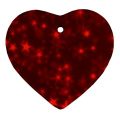 Blurry Stars Red Heart Ornament (two Sides) by MoreColorsinLife