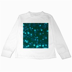 Blurry Stars Teal Kids Long Sleeve T Shirts by MoreColorsinLife