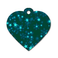 Blurry Stars Teal Dog Tag Heart (one Side) by MoreColorsinLife