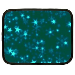 Blurry Stars Teal Netbook Case (xl)  by MoreColorsinLife