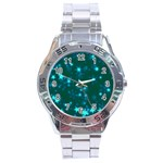 Blurry Stars Teal Stainless Steel Analogue Watch Front