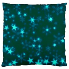 Blurry Stars Teal Large Cushion Case (two Sides) by MoreColorsinLife