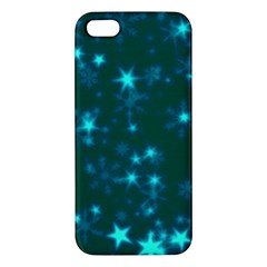 Blurry Stars Teal Apple Iphone 5 Premium Hardshell Case by MoreColorsinLife