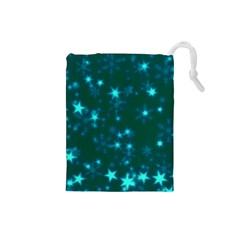 Blurry Stars Teal Drawstring Pouches (small)  by MoreColorsinLife