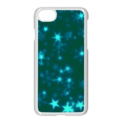 Blurry Stars Teal Apple Iphone 7 Seamless Case (white) by MoreColorsinLife