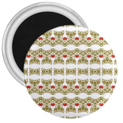 Striped Ornate Floral Print 3  Magnets by dflcprints