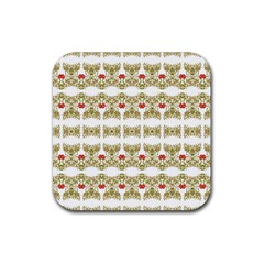 Striped Ornate Floral Print Rubber Coaster (square)  by dflcprints