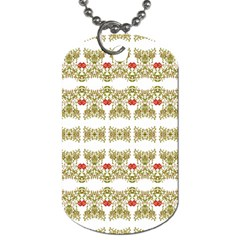 Striped Ornate Floral Print Dog Tag (one Side) by dflcprints