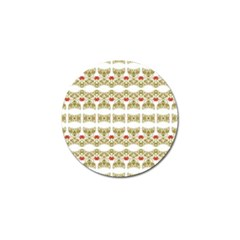 Striped Ornate Floral Print Golf Ball Marker (4 Pack) by dflcprints