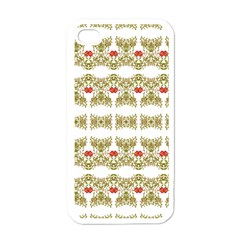 Striped Ornate Floral Print Apple Iphone 4 Case (white) by dflcprints