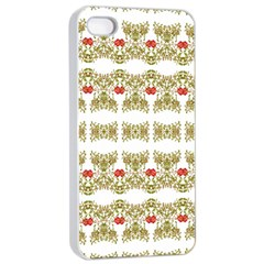 Striped Ornate Floral Print Apple Iphone 4/4s Seamless Case (white) by dflcprints