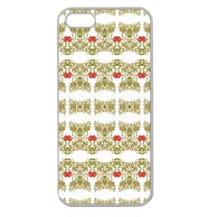 Striped Ornate Floral Print Apple Seamless Iphone 5 Case (clear) by dflcprints