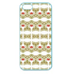 Striped Ornate Floral Print Apple Seamless Iphone 5 Case (color) by dflcprints