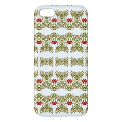 Striped Ornate Floral Print Apple Iphone 5 Premium Hardshell Case by dflcprints