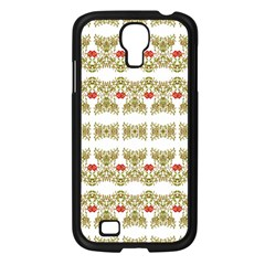 Striped Ornate Floral Print Samsung Galaxy S4 I9500/ I9505 Case (black) by dflcprints