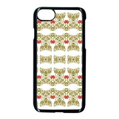 Striped Ornate Floral Print Apple Iphone 7 Seamless Case (black) by dflcprints