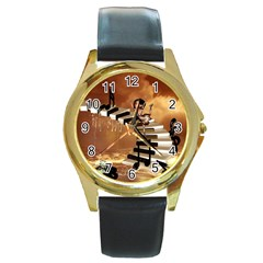 Cute Little Girl Dancing On A Piano Round Gold Metal Watch by FantasyWorld7