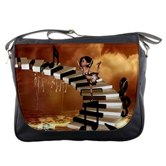 Cute Little Girl Dancing On A Piano Messenger Bags by FantasyWorld7