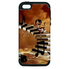 Cute Little Girl Dancing On A Piano Apple Iphone 5 Hardshell Case (pc+silicone) by FantasyWorld7