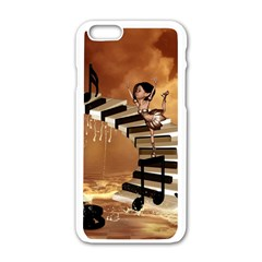 Cute Little Girl Dancing On A Piano Apple Iphone 6/6s White Enamel Case by FantasyWorld7