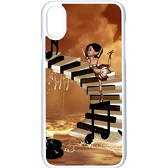 Cute Little Girl Dancing On A Piano Apple Iphone X Seamless Case (white) by FantasyWorld7
