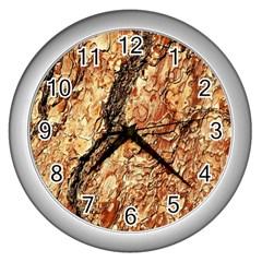 Tree Bark D Wall Clocks (silver)  by MoreColorsinLife