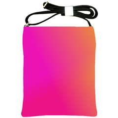 Pink Orange Yellow Ombre  Shoulder Sling Bags by SimplyColor