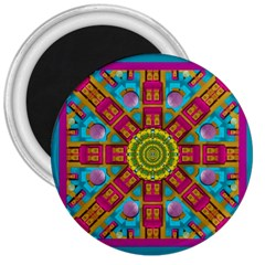 Sunny And Bohemian Sun Shines In Colors 3  Magnets by pepitasart