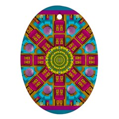 Sunny And Bohemian Sun Shines In Colors Ornament (oval) by pepitasart