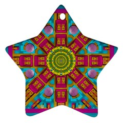 Sunny And Bohemian Sun Shines In Colors Ornament (star) by pepitasart