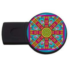 Sunny And Bohemian Sun Shines In Colors Usb Flash Drive Round (2 Gb) by pepitasart