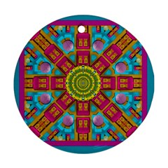 Sunny And Bohemian Sun Shines In Colors Round Ornament (two Sides) by pepitasart