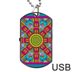 Sunny And Bohemian Sun Shines In Colors Dog Tag Usb Flash (one Side) by pepitasart
