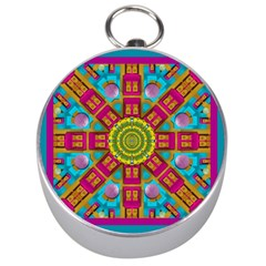 Sunny And Bohemian Sun Shines In Colors Silver Compasses by pepitasart