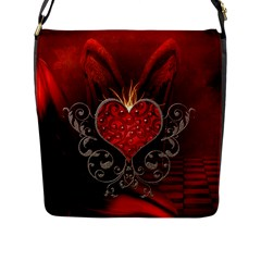 Wonderful Heart With Wings, Decorative Floral Elements Flap Messenger Bag (l)  by FantasyWorld7
