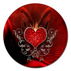 Wonderful Heart With Wings, Decorative Floral Elements Magnet 5  (round) by FantasyWorld7