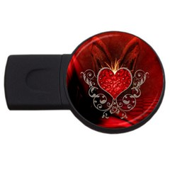 Wonderful Heart With Wings, Decorative Floral Elements Usb Flash Drive Round (2 Gb) by FantasyWorld7