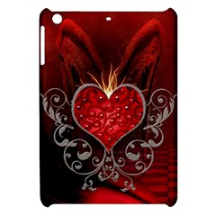 Wonderful Heart With Wings, Decorative Floral Elements Apple Ipad Mini Hardshell Case by FantasyWorld7