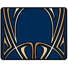 Art Nouveau,vintage,floral,belle Époque,elegant,blue,gold,art Deco,modern,trendy Double Sided Fleece Blanket (medium)