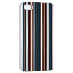 Pear Blossom Teal Orange Brown Coordinating Stripes  Apple Iphone 4/4s Seamless Case (white) by ssmccurdydesigns