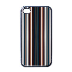 Pear Blossom Teal Orange Brown Coordinating Stripes  Apple Iphone 4 Case (black) by ssmccurdydesigns