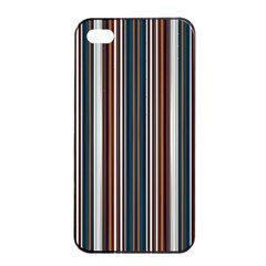 Pear Blossom Teal Orange Brown Coordinating Stripes  Apple Iphone 4/4s Seamless Case (black) by ssmccurdydesigns