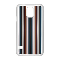 Pear Blossom Teal Orange Brown Coordinating Stripes  Samsung Galaxy S5 Case (white) by ssmccurdydesigns